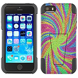 Apple iPhone 5 Hybrid Case Abstract Strokes Color 2 Piece Style Silicone Case Cover with Stand for Apple iPhone 5 and 5S