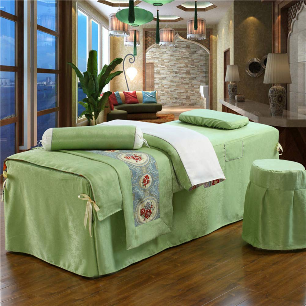 ALHBNAY Square Head Massage Bed Cover, European Luxury Plush Massage Beauty Bedspreads 4ps, Simple Salon Physiotherapy Bed Set Sheets-Green 70x180cm(28x71inch)