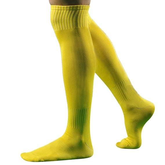 Hombres Deporte FúTbol Soccer Calcetines Largos Sobre Rodilla Alto CalcetíN BéIsbol Hockey (Amarillo, socks