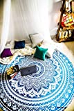 Majestic Blue Mandala Round Tapestry Hippie Indian Mandala Beach Roundie Blanket Picnic Table Throw Bohemian Spread Boho Gypsy Cotton Tablecloth Beach Towel Meditation Round Yoga Mat - 72 Inches, Blue