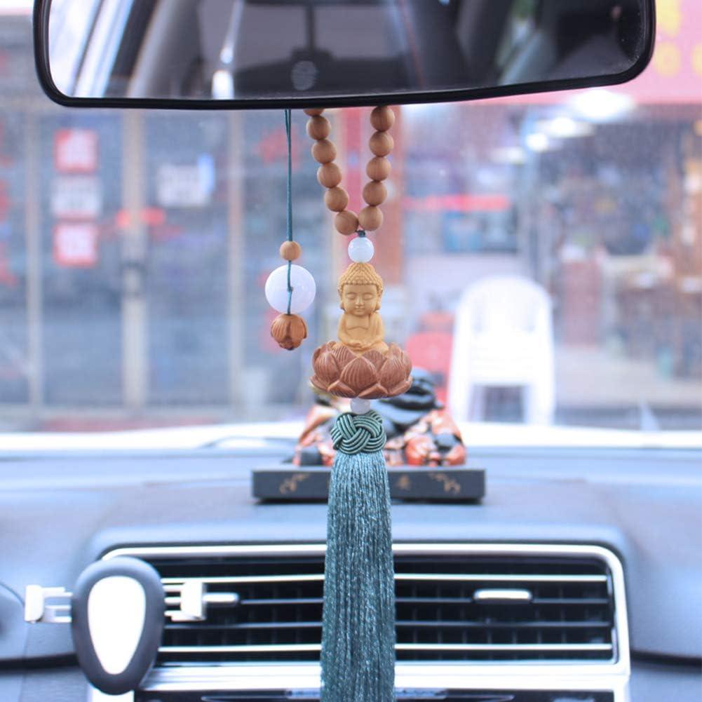 Trailer Rearview Mirror Car Buddha Statue Base Boxwood Pendant Boxwood Buddha Pendant for Car Decoration Zacha Car Hanging Ornament