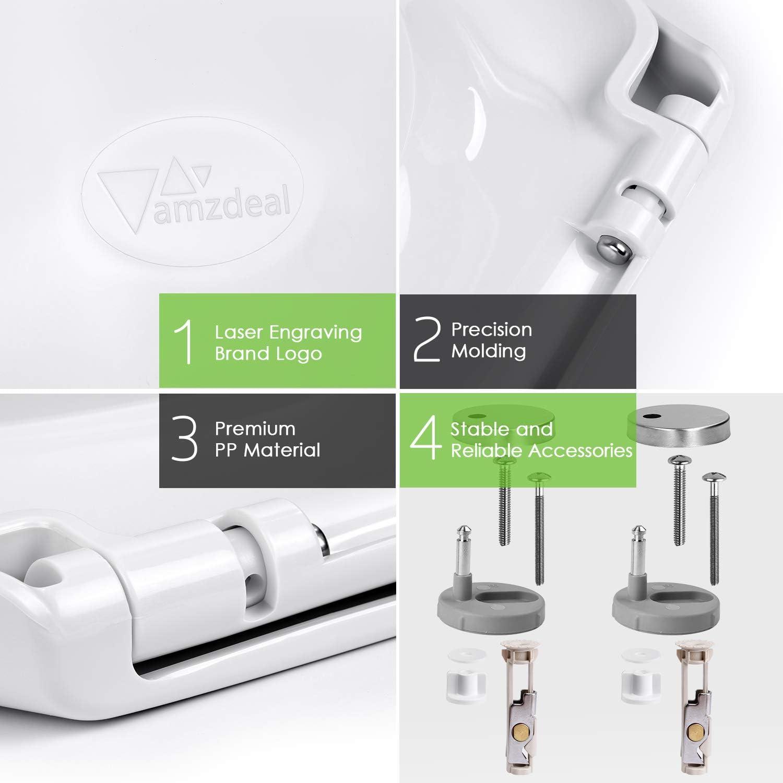 Amzdeal Toilettensitz O-Form Klodeckel mit Soft-Close Funktion Toilettendeckel mit Absenkautomatik WC Sitz aus Polypropylene // Wei/ß
