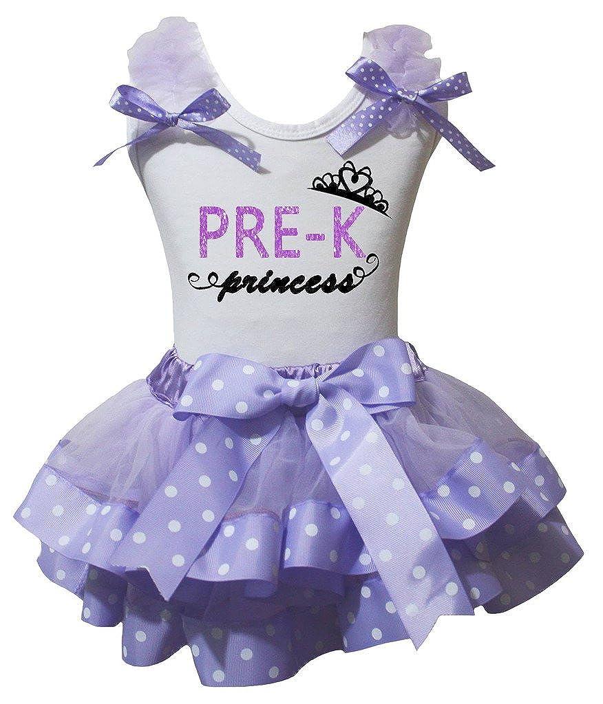 Petitebella Pre-K Princess Lavender Shirt Purple White Dots Petal Skirt Nb-8y