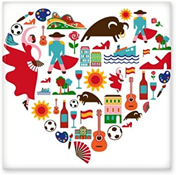 España español corazón corrida de toros Flamenco Guitarra Ventilador bandera nacional de cerámica crema decoración de decoración de azulejos para baño cocina azulejos de pared azulejos de cerámica: Amazon.es: Bricolaje y herramientas
