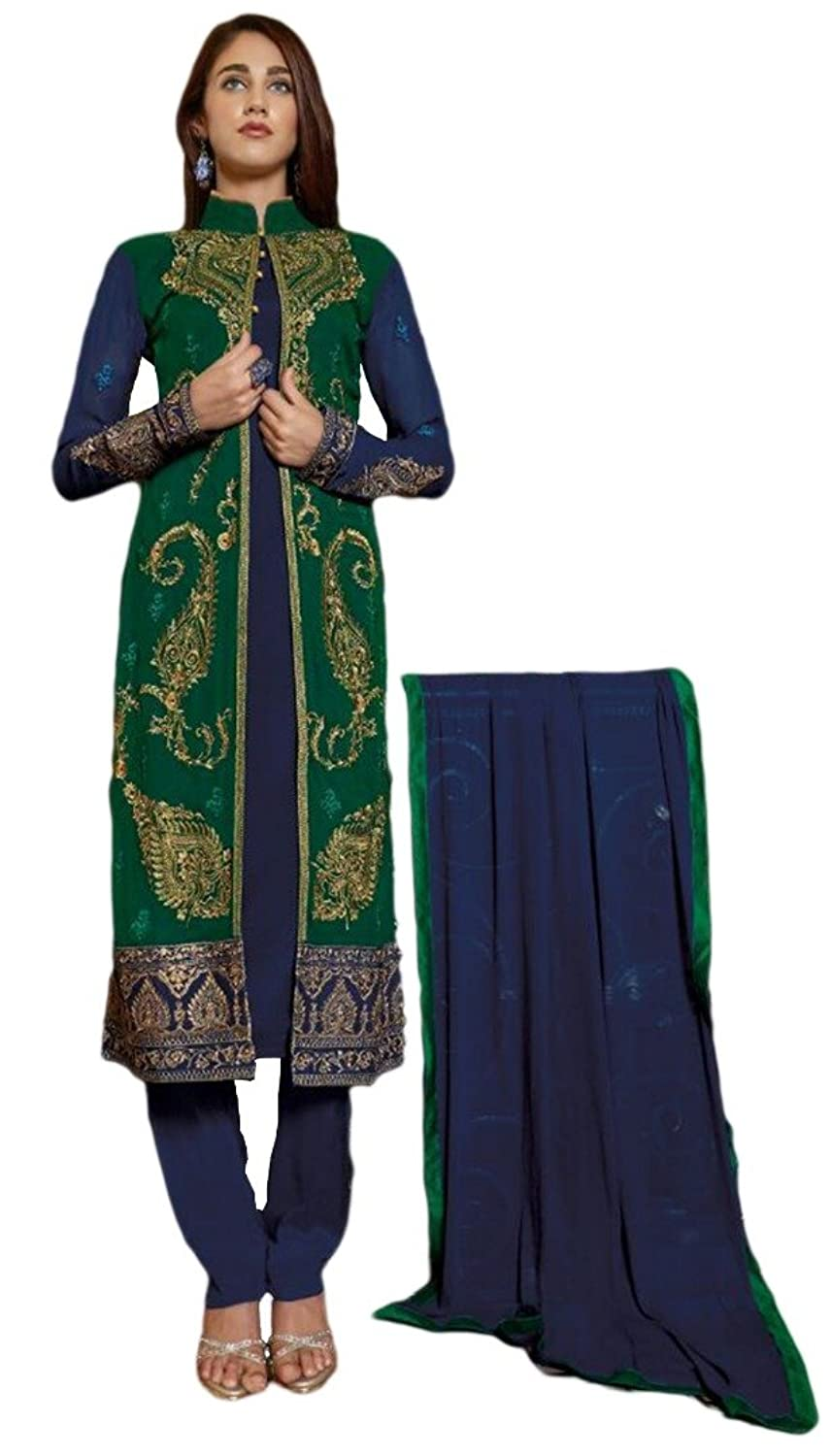 Blue & Green Georgette Dress