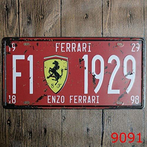 Bidesign Metal Tin Sign 6x12in car Plate enzo Ferrari Bar Pub Cafe Home Decor Retro Poster Vintage Sign 30x15cm (Ferrari Bar)