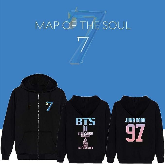ACEFAST INC Kpop BTS Zip Hoodie Map of The Soul 7 Zipper Sweatshirt Jimin Suga Jungkook V RM Zip Up Jacket