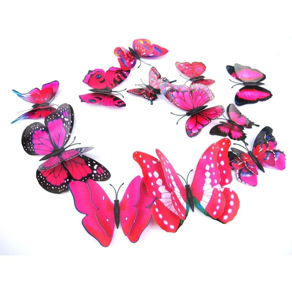 Fridge Decal ,AMA(TM) 12pcs 3D Butterfly Wall Sticker Magnet Room Decor Applique (Red)