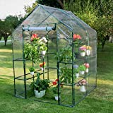 Sundale Outdoor Gardening Large 2 Tier 8 Shelf Steeple Walk in Plant Green House with PVC Cover,...