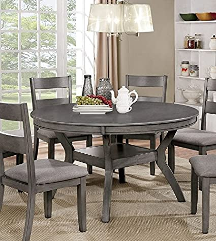 Amazoncom Juniper Gray Wood Round Dining Table By Furniture Of