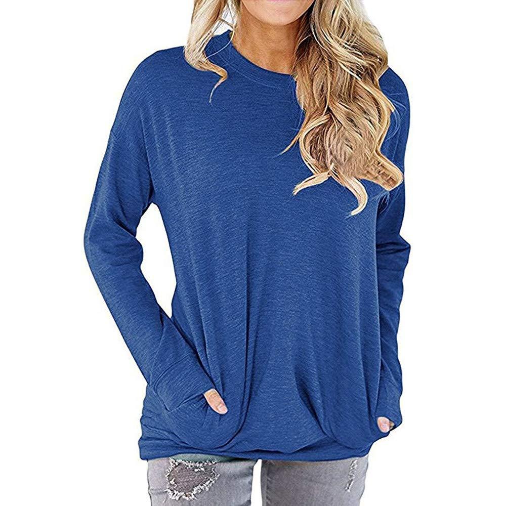 QIUUE Women Cotton Loose Top Sweatshirt Pockets Pullovers T-Shirt Comfy Blouses Casual Long Sleeve Tunic Tops Blue by QIUUE
