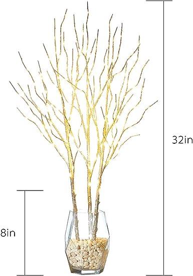 Sin jarr/ón Hairui Rama de Sauce Iluminada de Abedul Blanco Decoraci/ón con micro luces LED 80CM 150LED Plug in Rama Luces Ramita para la del Hogar para Uso en Interior y exterior Paquete de 3