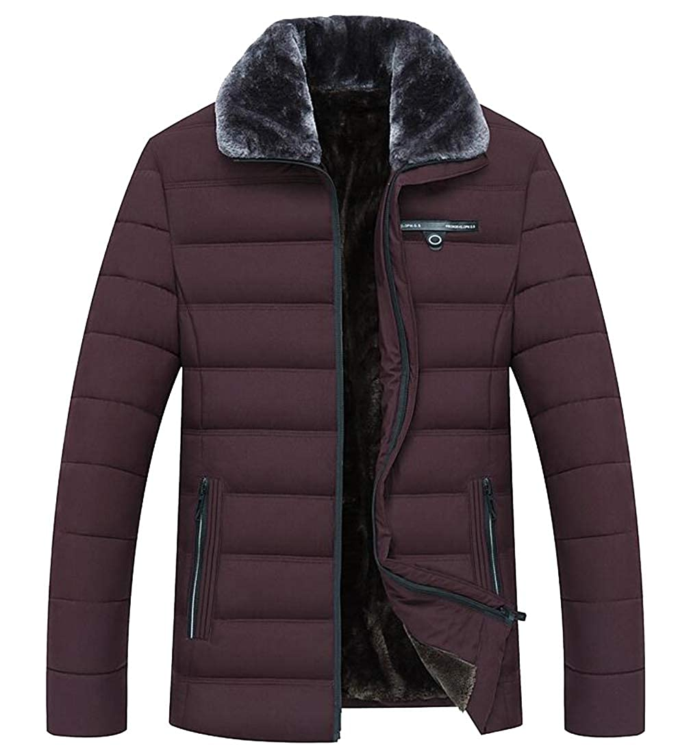 Fubotevic Mens Thickened Zip Up Warm Winter Fleece Lined Down Quilted Coat Jacket Outerwear