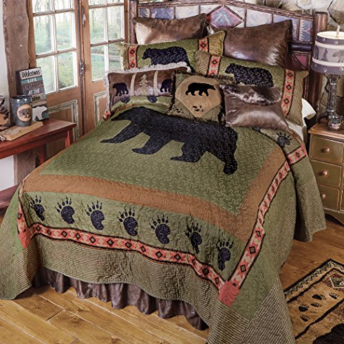 Creek Comforter Set - Black Forest Decor Sage CreekBear Quilt Bed Set - Queen