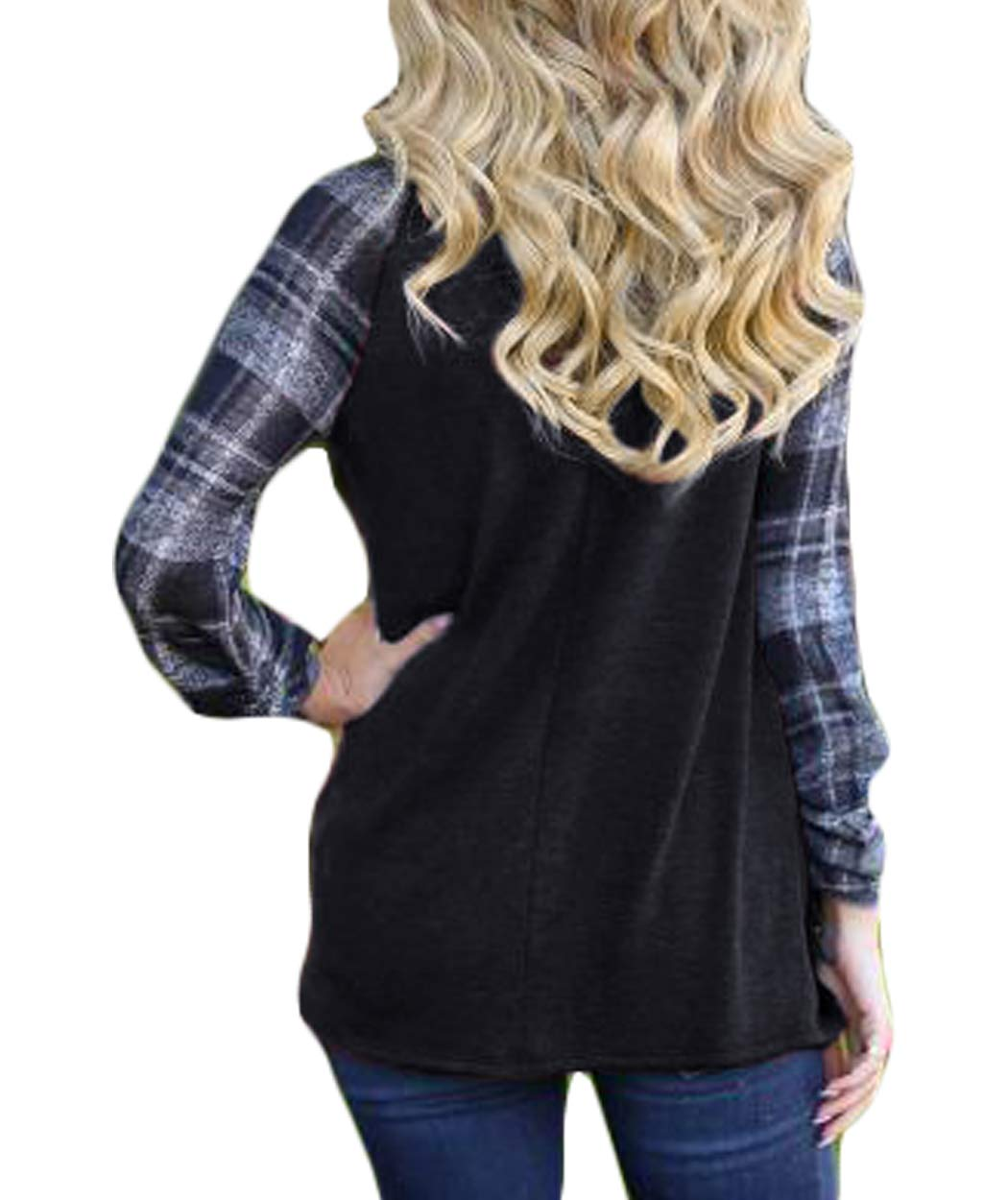 Eanklosco Women Long Sleeve Tops Plaid Patchwork Shirt Casual Round Neck Color Block Tunic Blouse (S, Black)