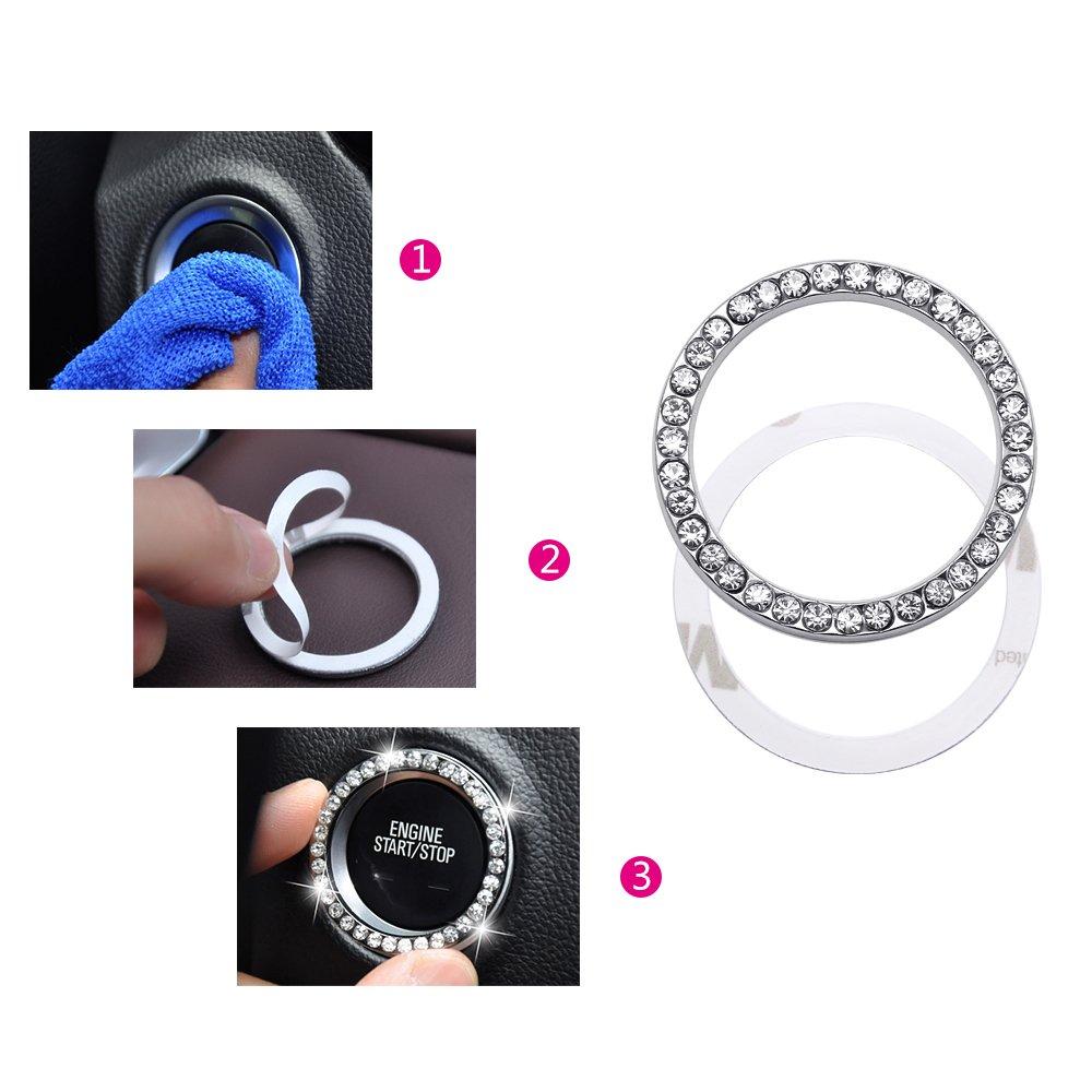 Hysagtek 6 Pcs Crystal Rhinestone Car Bling Ring Sticker Emblem Auto Start Car Engine Ignition Button Decoration for Car Suv Truck Jeep 3 Colors