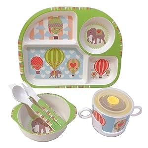 Shopwithgreen 5Pcs/Set Bamboo Fiber Children Board Food Plate Bowl Cup Spoon Fork Set Dishware Cartoon Tableware Dishwasher Safe Kids Healthy Mealtime (Elephant)