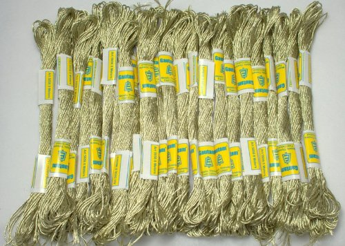 New ThreadNanny 24 White Gold SKEINS of 100% Cotton Metallic Thread for Hand Embroidery