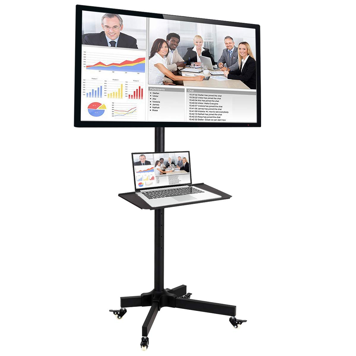 Toolsempire Height Adjustable Mobile TV Cart Rolling TV Stand for 19'' to 37'' Universal LCD LED Plasma Flat Panel Screens Within 200x200mm up to 44lbs with Shelf & Wheels