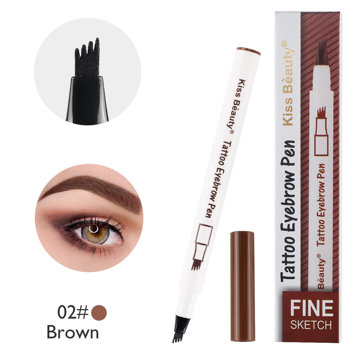 Tattoo Eyebrow Pen, Waterproof Liquid Eyebrow Pen with Four Tips, Long-Lasting Fine Sketch for Eyes Makeup (02#Brown) CRPUPER