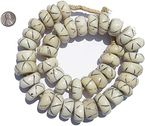 Amazon Com Carved White Bone Beads Full Strand Of Fair Trade Artisanal African Beads The Bead Chest Criss Cross Arts Crafts Sewing