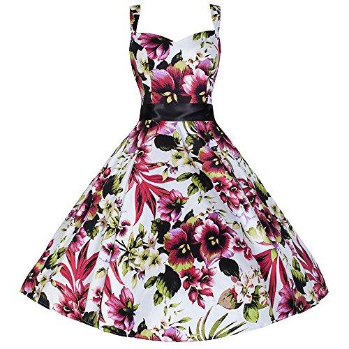 Pretty Kitty Fashion Impression florale de coton lanières 50 Robe