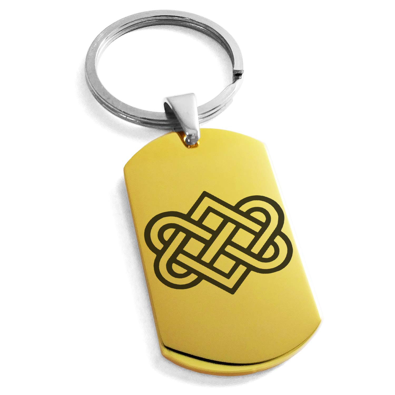 Tioneer Gold Plated Stainless Steel Irish Heart Love Knot Engraved Dog Tag Keychain Keyring