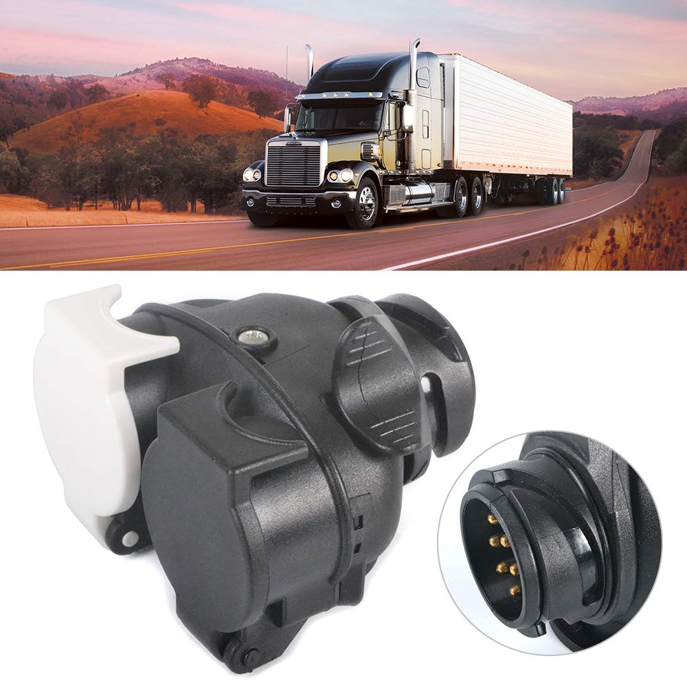Trailer/Plug/Socket by SUNWAN 13 to 7 pin N /& S Euro Socket Car Trailer Truck Towbar Towing Socket Plug Adapter Converter 12V waterproof trailer plug black-1.Towbar Towing Socket