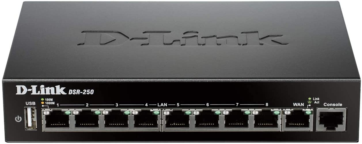 D-Link VPN Router, 8 Port Gigabit with Dynamic Web Content Filtering (DSR-250)