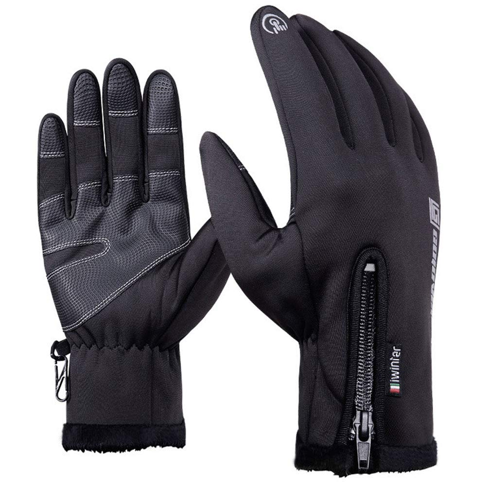 Touch Screen Gloves Winter All-Around Riding Non-Slip Mountaineering Warm Waterproof Ski Plus Zipper Outdoor Sports (Size : L) LIUSHUAISHUAI
