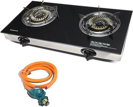 magshion moderno doble cristal Top portátil propano quemador estufa de gas con manguera y regulador