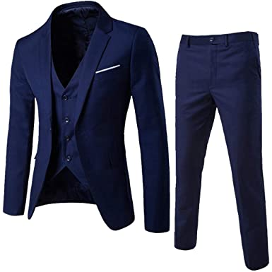IAMUP Mens Fashion Suit Slim 3-Piece Suit Blazer Business Korean Wedding Party Suitable Jacket Vest & Pants