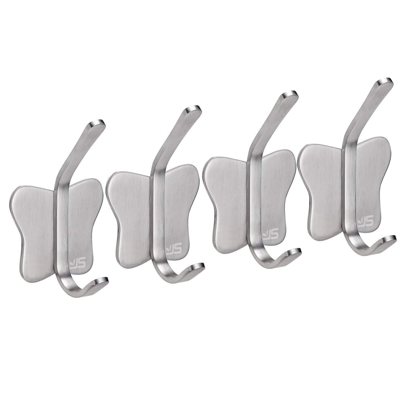 Self Adhesive Hooks, Coat Key Tea Towels Stainless Steel Sticky Wall Hooks Holder,Stick on Hooks for Kitchen Toilet Bathroom,4 Packs JS