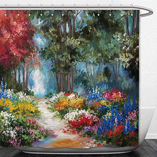 Beshowere Shower Curtain oil painting landscape colorful forest 26918 Springs