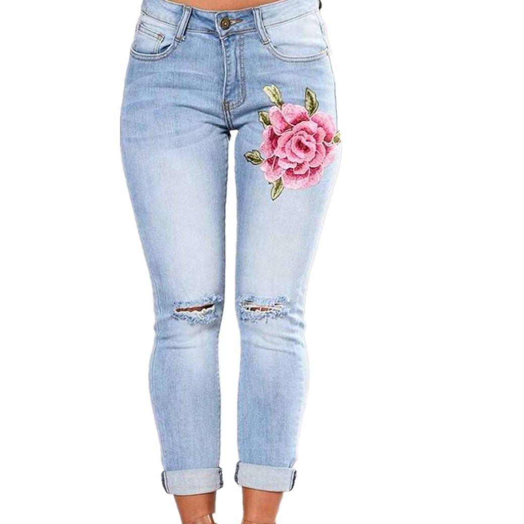b8bb419547c9 Hffan Damen Stickerei Jeans High-Waist Stretch Rissen Loch Modern Bleistift Hosen  Skinny Hochbund Jeans Hose Röhrenjeans mit Riss am Knie in Blau  ...