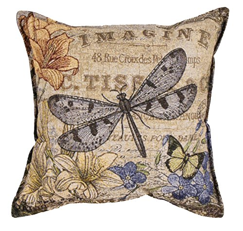 Simply Home Vintage Dragonfly Decorative Tapestry Toss Pillow Made in the USA SKU PTP993