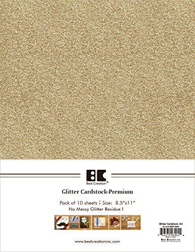 Best Creation A4 Glitter Cardstock, Sand, 10 Piece