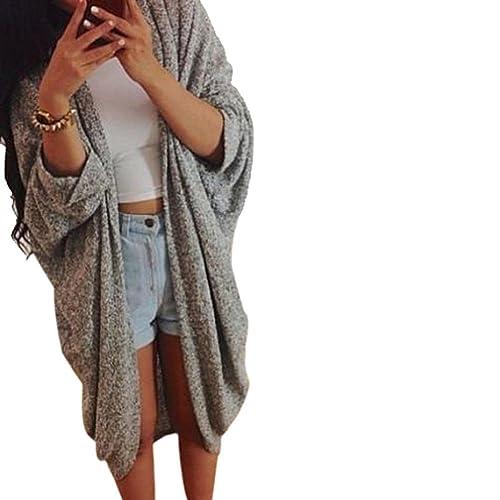 FEITONG Para mujer mayor de los zapatos Knit de la manga del suéter capa de la chaqueta de la rebeca