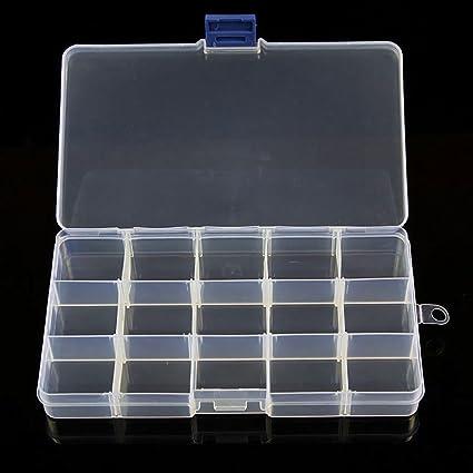 RGBZONE - Caja separadora de joyas, 4 piezas, organizador de cuentas de plástico transparente ajustable, contenedor de almacenamiento 2Piece 15Grids: Amazon.es: Oficina y papelería