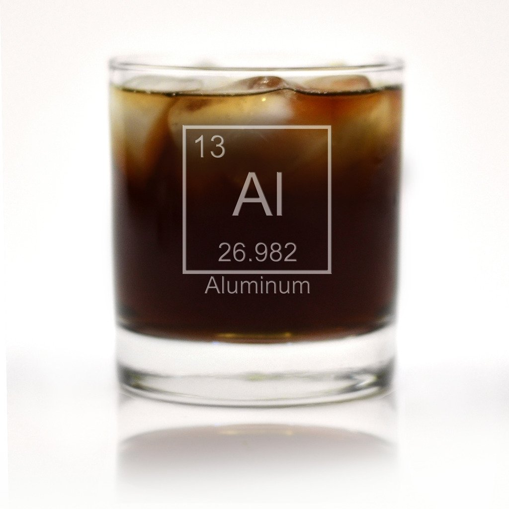 Aluminum Periodic Table of Elements Engraved Cocktail Glass Glass With a Twist