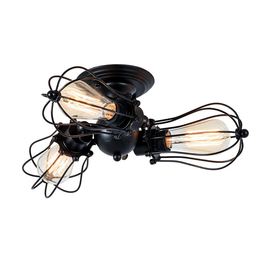 Wsxxn Industrial Ceiling Lights Adjustable Socket Vintage Chandeliers Metal Wire Cage Lamp Semi-Flush Mount Rustic Ceiling Light Indoor Home Retro Black Lighting Fixture