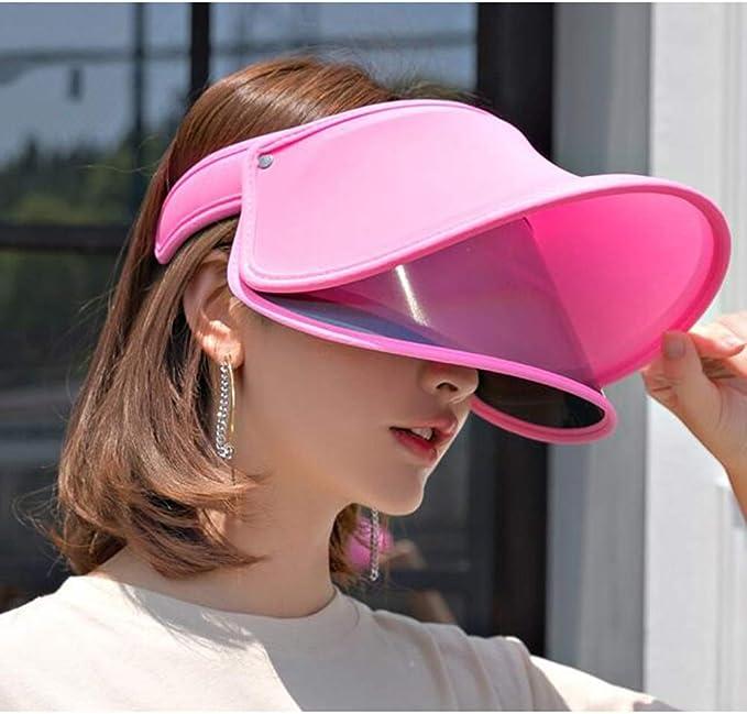 ZX-chapeau De Soleil Bonnet Visi/ère Angle R/églable Couverture Transparente Teint/ée Large Bord Protection UV Accessoires Couleur : Rose, Taille : One Size