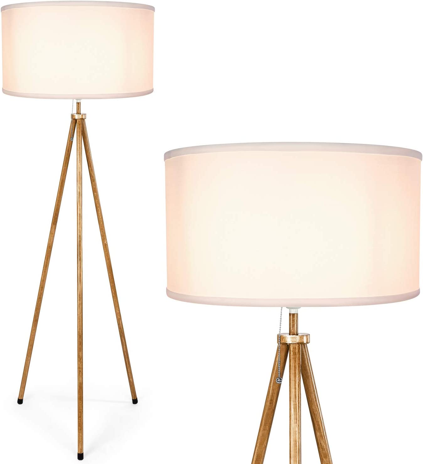 Albrillo Tripod Floor Lamp, Lamp Shade with E26 Bulb Base, Stylish Tall Standing Lamp with Metal Legs for Living Room Bedroom Office Reading