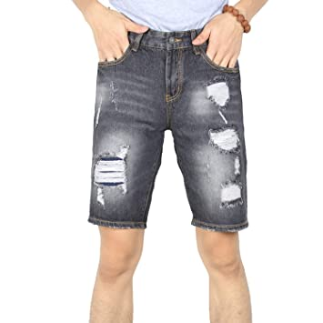 7b33856cfa Men Ripped Jeans Short Slim Fit Straight Distressed Denim Shorts Man Stretch  Destroyed with Big Holes