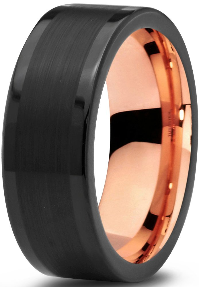 Tungsten Wedding Band Ring 8mm for Men Women Black & 18K Rose Gold Plated Pipe Cut Brushed Polished