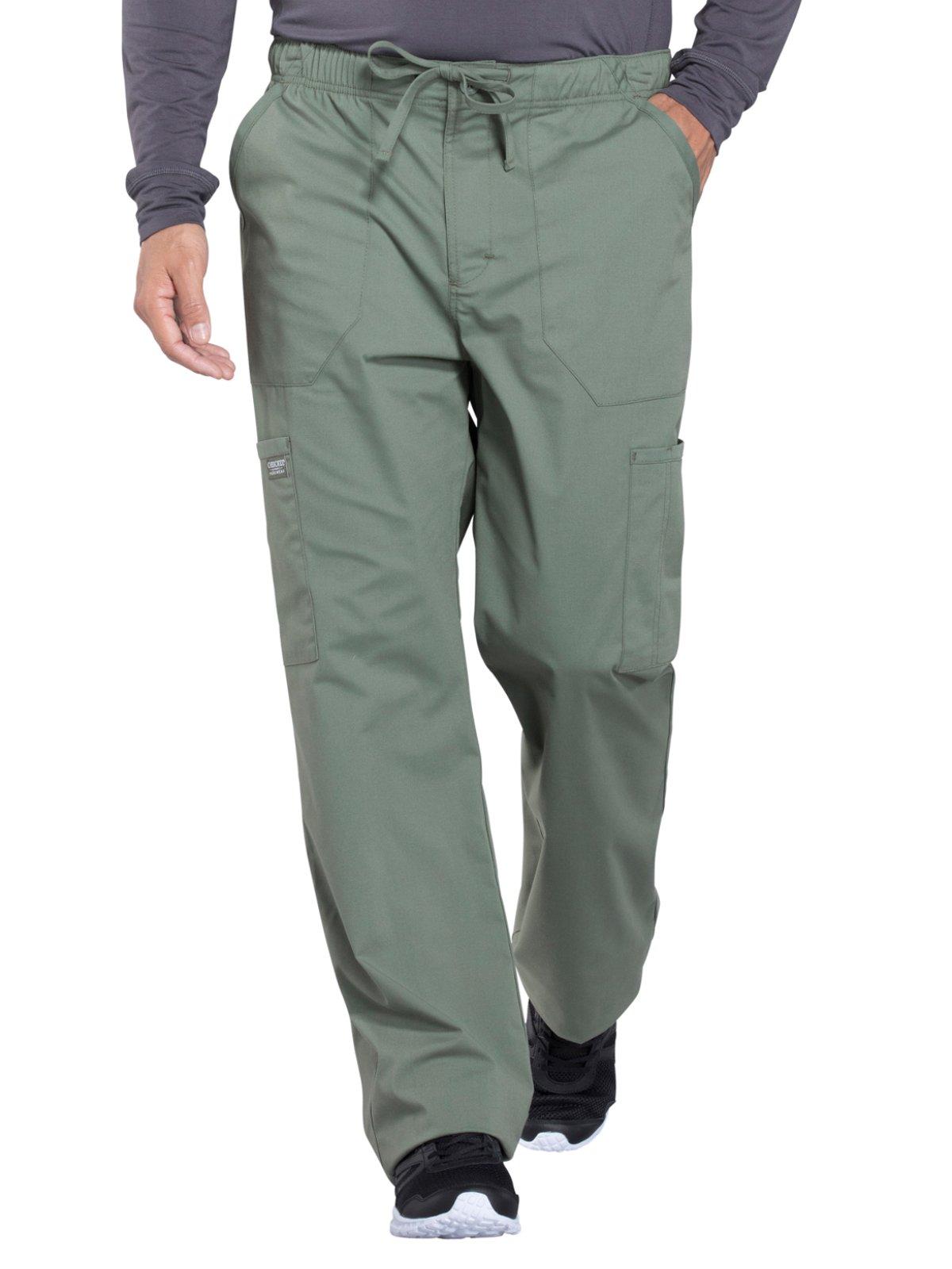 Cherokee Professionals Workwear Men's Tapered Leg Zip Fly Drawstring Scrub Pant Medium Olive