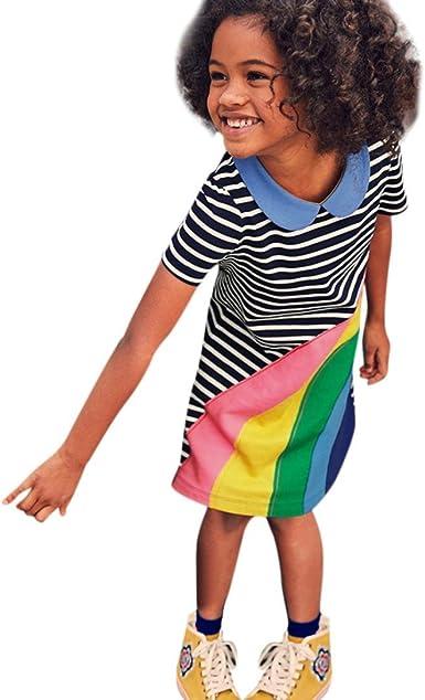 K-youth Ropa Niña, Rayas Arcoiris Verano Vestidos Niñas Vestido de Fiesta de Princesa Tutu Vestidos Niñas Vestido de Fiesta Cumpleaños para Niña: Amazon.es: Ropa y accesorios