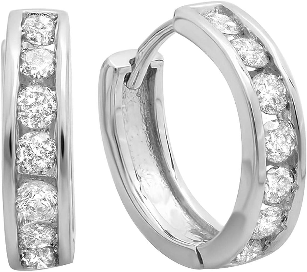 Dazzlingrock Collection 0.50 Carat (ctw) 14K Gold Round Diamond Ladies Mens Unisex Huggie Hoop Earrings 1/2 CT