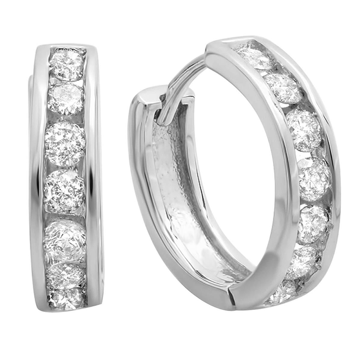 Dazzlingrock Collection 0.50 Carat (ctw) 10K Round Diamond Ladies Mens Unisex Huggie Hoop Earrings 1/2 CT, White Gold by Dazzlingrock Collection (Image #1)