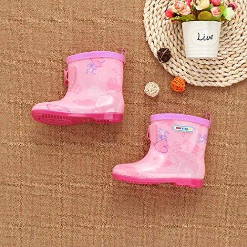 RegenSchuhe Stiefel Jamicy® Kinder Wasserdicht Kind Stern Brief Drucken Gummi Infant Regen Stiefel Regen Schuhe EU 25 26 27 28 29 Rosa